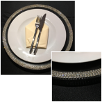 Rhinestone Beaded Glass Charger Plate